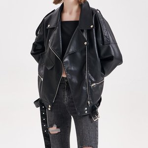Fall 2021 Women Loose Punk Jacket Coat Trend Motorcycle Faux Soft Leather Large Size All-match Women's &