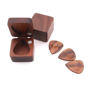 New Wooden Guitar Pick Plectrum Box for 4pcs Picks Hold Guitarra Accessories Stringed Musical Instrument Black Walnut