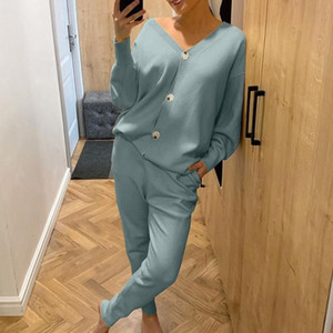 Knitted Sweater Sets Autumn Women's Suits Casual Knit Female Track Suit V-Neck Sweaters Long Pants Elegant Ladies Streetwear Set Tracksuits