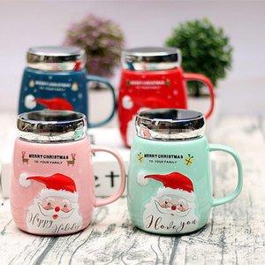 450ML Christmas Ceramic Mugs Santa Claus Cups Drinkware With Mirror Lid Creative Gifts Child Water Mug Coffee Fruit Juice Teacup RRA7684