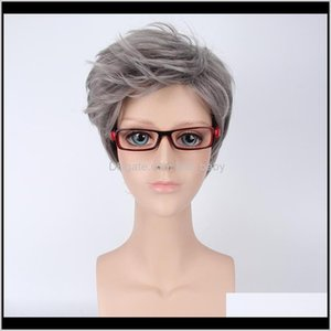 Wigs Products Drop Delivery 2021 Zf 45Cm Short Straight Grey Rose Net Synthetic Hairstyles Mens Natural Hair Lace Wig Hpak8