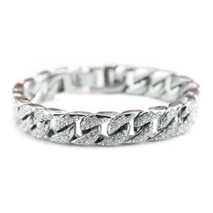 Men's Hip Hop Cool Jewelry Rose Gold Silver Miami Cuban Chain Bracelet