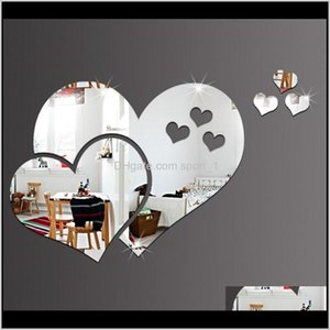 Décor Home & Garden Drop Delivery 2021 Acrylic 3D Creative Shape Mirror Wall Stickers Diy Room Decorative Decal Heart Mirrors Moqnt