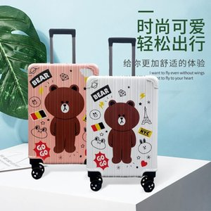 Frosted Cartoon Bear Trolley Case Printing Student 20 Inch Zipper Gift Suitcase