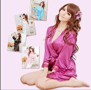Rote sexy Dessous Kimono Kleid + G-String Seide Spitze Nachtwäsche Pyjamas Sexy Zoll Top Frauen Langerie Baby Puppe und Sex String Robe Unterwäsche