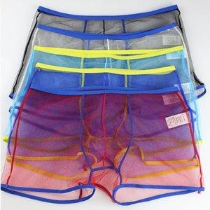 Sexy Men Child Mesh Boxers Transparent Boxer Shorts See Through Underwear 2019