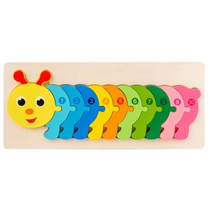Wooden Caterpillar Jigsaw Puzzle for Toddlers 3D Animal Learning Educational Toy