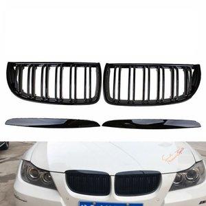 Front Kidney Grille Hood Grills -Double Line for BMW E90 323I 328I 335I 330I 325I 3-Series 2005-2008 (Gloss Black)