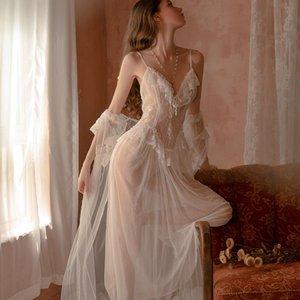 Women's Sleepwear 3pcs White Sexy Robe & Gown Sets For Women Ladies Night Wear Nighty Bride Dressing Gowns Mesh Pajamas Dress Lounge