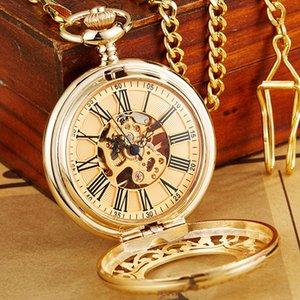 Antigo relógio de bolso mecânico de ouro com corrente steampunk esqueleto oco mão-enrolamento pingente relógio homens mulheres ouro bronze presente