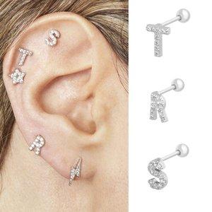 Stud 1 PC Silver S925 Sterling A-Z Alphabet Earrings High Quality Piercing For Women Girls Fashion Jewelry W3