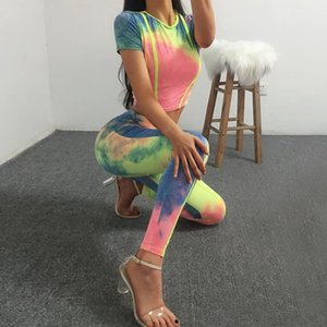 Tie Dye Crop Top And Pant Bodycon 2 Piece Set Sexy Striped Two Club Outfits Summer Women Matching Sets Femme Tracksuit Women's Tracksuits