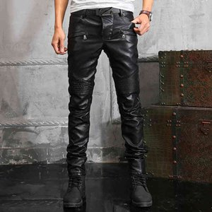 New men's male trousers Winter black men's leather pants motorcycle windproof slim trendy personality thickened riding pants 7ZOJ