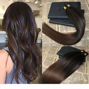 أومبير ملحقات الشعر البشري أنا تلميح الشعر balayage # 2 يتلاشى إلى # 5 كيراتين يميل الشعر البشري الشعر قبل المستعبدين أنا نصيحة 1g str