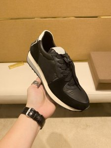 2021 luxury black and white casual sneakers design mesh leather combination running shoes men rubber sole belt