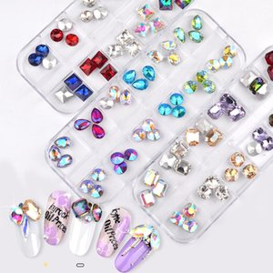 Colorful Nail Rhinestones Mixed Oval Waterdrop Round Chameleon AB Crystal Glass Gems Strass 3D Glitter Nail Art Decorations