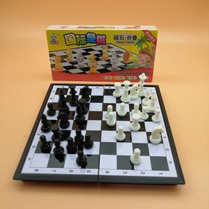 Chess puzzle and card games toy foldable plastic magnet chess board with magnetism