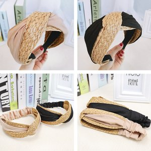 Women Hairbands Natural Raffia Straw Handmade Bow Knot Headband Knotted Wide Headwear Vacation Style Hair Band