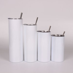 Blank Sublimation Straight Tumblers Stainless Steel Skinny Cups 12oz 15oz 20oz 30oz Can Be Mixed