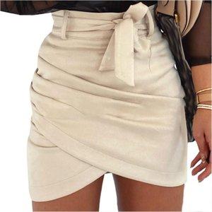 Skirts 2021 Fashion Women Suede Bodycon Pencil Skirt Ladies Party Club High Waist Mini
