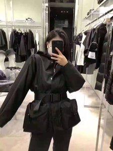Bayan Hoodie Ceketler Çizgili Budge Desen Uzun Kollu Lady Ince Gömlek Yaka Boyun Düğmesi Kol Kemer Rüzgarlık Kadın Üstleri