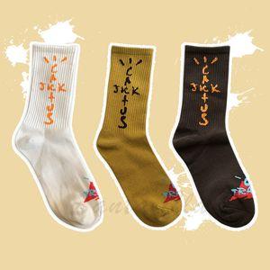 21ss Travis Scott Cactus Jack Tide Socks Designer TS Earth Color Sports Running Cotton Sock for Men and Women
