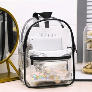Women Backpack Transparent Waterproof PVC Bag Female Fashion College Students Transparent Sequin Bag Femme Backpacks 210426