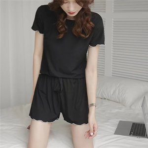 Factory6Q9V sleeve Cool ear edge round neck short shorts two piece thread female pajamas Barbie home suit