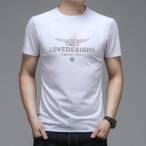 Luxury T-shirts Summer Ice Silk Short Sleeve Plain Cotton T-shirt Men's Fashion Round Neck Leisure Middle-aged and Young T-shirt