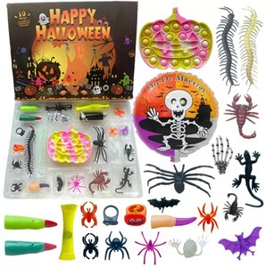 Stock 24pcs set Kids Halloween Fidget Toy Advent Calendar Blind Box 18 Styles Stress Reliever Bubble Christmas Scary Horror Toys ZZA3345 Fast Send 3-7 Days
