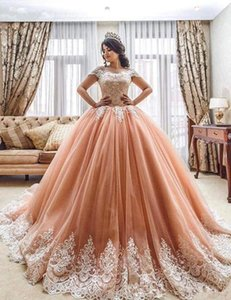 Vintage Blush Lace Applique Edge Quinceanera Dresses 2019 Off Shoulder Cathedral Train Vestidos 15 anos Sweety 16 Occasion Prom Gown