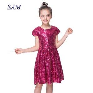 European and GIRLs Dress Sequin Short Sleeve Party Dress Shiny Princess Boutique Dresses Colorful A-Line Dress Q0716