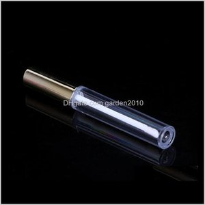 Other Event Party Supplies Wholesale 250Pcs 10Ml Mini Round Tube Cosmetic Package Lip Gloss Bottle Empty Container With Gold Cap 26658 6Nbxl