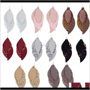 Chandelier S1164 Fashion Jewelry Sequins Multi Layer Pu Faux Leather Dangle Earrings Xk03Q Vyu1G