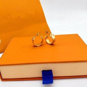 Orecchini in acciaio in acciaio in titanio dorato Gli orecchini ciondolo Lady Letter L Home Designer Europeo American Birthday Anniversario di nozze gioielli regalo non sbiadito