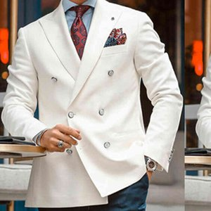 White Double Breasted Blazer for Men Slim fit Single One Piece Men Suit Jacket with Peaked Lapel Italian Style Casual Coat