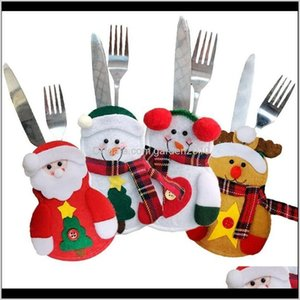Decorations 10Pcs Santa Elk Fork Knife Holder Tableware Packaging Pouch For Christmas Decoration Cutlery Pocket Party Ornament 201027 4Muqm