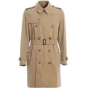 SS بلون اللون الرجال الخندق معاطف الربيع والخريف الشتاء الكلاسيكية الأزياء متوسطة طول سترة واقية كبيرة الحجم معطف