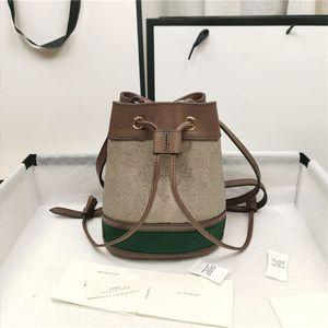 2021 Fashion Retro Womens Bag Handbags Bucket Shoulder Pad Handbag Leather Summer Beach Purses Ladies Green with Letter Small Purse