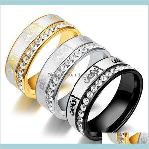 Arabic Inlaid Rhinestone Crystal Stainless Couple Islamic Titanium Men And Women Jewelry Y6B7R Band Cnbnv