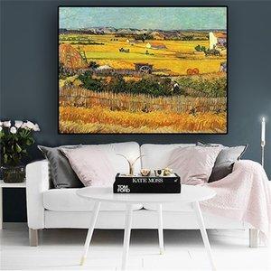 La Crau'da Hasat Gogh Peyzaj Yağlıboya Klasik Posterler Ve Baskılar Soyut Duvar Sanatı Resim Oturma Odası Ev Dekor Için OC4Y