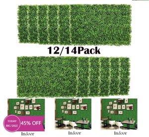 12 14 Pack Artificial Boxwood Panels Mat Greenery Fence Wall Decorative Hedge Plant For Outdoor Indoor Garden Backyard Flowers & Wreaths