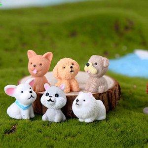 12 Style Mini Cute Dog Fairy Garden Figurines Miniature Cake Decor Resin Crafts Ornament Gnomes Moss Terrariums Decoration