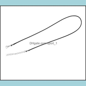 Findings & Components Jewelry Black Wax Leather Snake Necklace Beading Cord String Rope Wire 45Cm Extender Chain With Lobster Clasp Diy Jewe