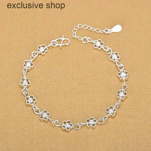 925 Sterling Fashion Small Flower Hollow Plum Silver Frosted Bead Bracelet Fine Jewelry