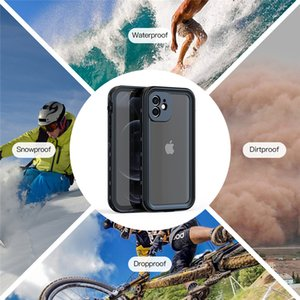 IP68 Waterproof Clear Phone Shell for iPhone 12 Antifouling Snowproof Swimming 360 Full Protective Hybrid Armor Rugged Transparent Sturdy Case with Bracelet Rope