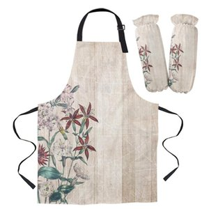 Aprons Retro Flower Wood Grain Kitchen For Women Bibs Household Cleaning Pinafore Home Cooking Apron