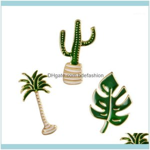 Pins, Brooches Jewelrycartoon Plant Brooch Green Leaves Palm Tree Cactus Potted Plants Metal Pins Button Fashion Clothes Pin Badge Jewelry G