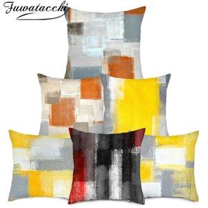 Coussin / oreiller décoratif Fuwatacchi Coussin géométrique Couverture Artistique Cas d'arbre imprimé pour la maison Sofa Décor Cojines 45x45cm