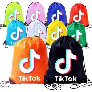 TikTok Kids Drawstring Bag Backpack Pocket Rope Shoulders Shopping Backpack Training Boys Girls Candy Colors Sports Bags G36T02I